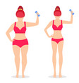 fat and slim woman before and after weight loss vector image