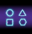 glitch neon set on retro background frame design vector image vector image