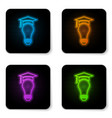 glowing neon light bulb and graduation cap icon vector image vector image