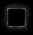 gold square frame and glitter glowing particles vector image vector image