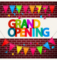 grand opening banner on wall with flags and vector image
