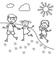 hand drawn children walk on the lawn in the summer vector image