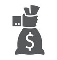 hand holding money bag glyph icon finance vector image
