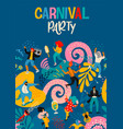 hello carnival poster with funny dancing vector image vector image