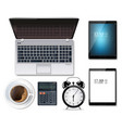 laptop coffee cup and alarm clock vector image vector image