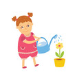 little girl watering houseplant pot flower vector image vector image