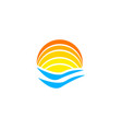 logo with yellow sun and blue sea waves logotype vector image