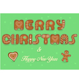Merry Christmas Happy New Year Gingerbread font vector image