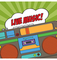 musical background with retro boom-box vector image