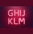 neon alphabet pink led neon lamp in realistic vector image