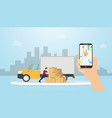 online cargo delivery tracking system with truck vector image vector image