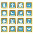 origami icons set sapphirine square vector image vector image