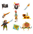pirates set pirate adventures accessories black vector image