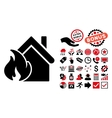 Realty Fire Disaster Flat Icon with Bonus vector image vector image
