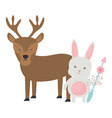 reindeer and rabbit with arrow bohemian style vector image
