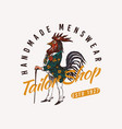 rooster character with a cane and boots vintage vector image