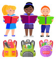 schoolkids stand and read books bags for school vector image vector image