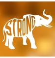 Silhouette of strong elephant with text inside on vector image vector image
