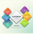 six numbered square elements of different color vector image vector image