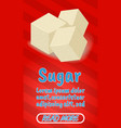 sugar concept banner comics isometric style vector image