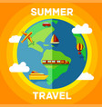summer with travel around globe vector image vector image