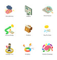 teambuilding icons set isometric style vector image vector image
