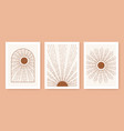 triptych boho sun minimalist mid century modern vector image