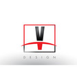 v logo letters with red and black colors and vector image vector image