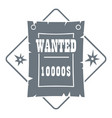 wanted logo vintage style vector image