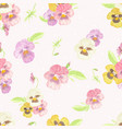 watercolor pansy flower seamless pattern on dot vector image vector image