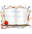 welcome back to school supplies eps 10 vector image