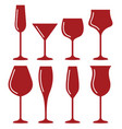 wine glass cup icon set red wine symbol pour vector image