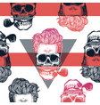 kitschy seamless pattern human skulls with vector image