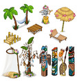 ancient idols and tropical theme big set vector image vector image