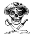 Black and white pirate skull with cross swords vector image