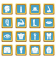 body parts icons azure vector image vector image