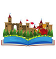 book with castle towers and dragon vector image vector image