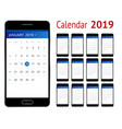 calendar for 2019 year smartphone with a vector image