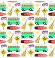 campers vacation travel car summer nature seamless vector image