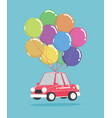 cartoon car with bunch balloons vector image vector image