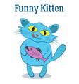 cartoon cat with fish vector image