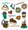 coffee doodle collection vector image vector image