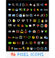 Color pixel style icons collection vector image