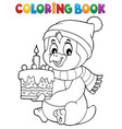 coloring book penguin with cake theme 1 vector image vector image
