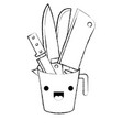 container with knives monochrome blurred kawaii vector image vector image