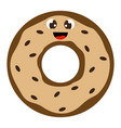 cute donut with eyes on white background vector image vector image