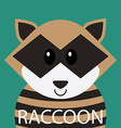 Cute racoon cartoon flat icon avatar vector image