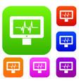 electrocardiogram monitor set collection vector image vector image