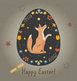 festive easter egg with cute character of fox vector image vector image