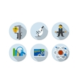 Flat design six icons set of SEO vector image vector image